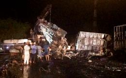 Tại nạn liên hoàn tại Khánh Hòa, nhiều xe bốc cháy trên Quốc lộ 1A