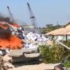 Cháy ở công ty xử lý môi trường Á Châu.