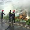 Cháy lớn kho chứa rơm khô tại huyện Tân Phước