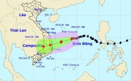 Bão số 10 giật cấp 11 và gây mưa rất lớn các tỉnh miền Trung từ đêm nay