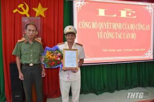 Công an Tiền Giang công bố quyết định của Bộ trưởng Bộ Công an về công tác cán bộ