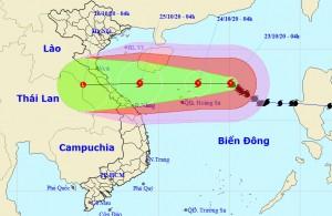 Bão số 8 sẽ suy yếu khi vào đất liền các tỉnh miền Trung