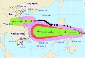 Đêm nay 25-10, bão số 8 đổ bộ từ Hà Tĩnh-Quảng Trị, bão Mollave nối gót vào Biển Đông