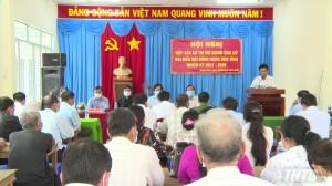 Chủ tịch UBND tỉnh trình bày chương trình hành động với cử tri xã Thanh Bình, huyện Chợ Gạo