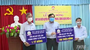 Ủy ban Mặt trận Tổ quốc Việt Nam tỉnh Tiền Giang tiếp nhận kinh phí ủng hộ phòng chống Covid-19