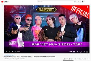 Rap Việt – mùa 2 lập thành tích khủng, dẫn đầu top thịnh hành Youtube Việt Nam