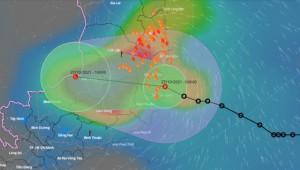 Sáng 27-10, áp thấp nhiệt đới gây mưa to đến rất to ở Nam Trung bộ và Tây Nguyên