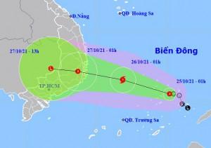Bão giật cấp 10 hướng vào từ Bình Định – Bình Thuận, miền Trung mưa rất to